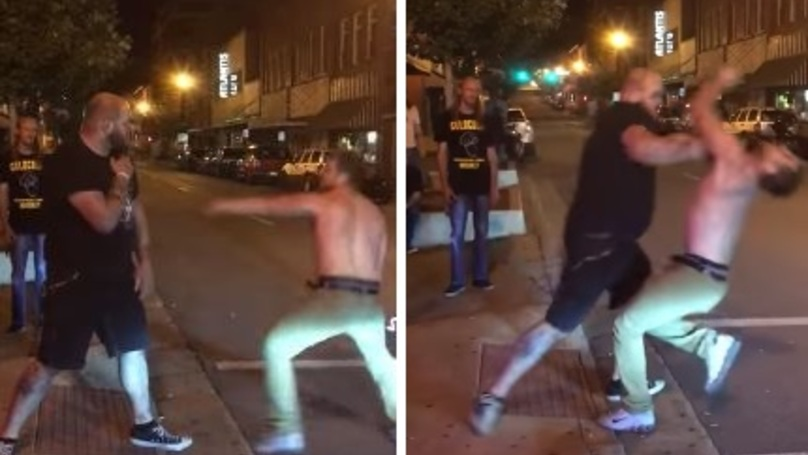 Shirtless Guy Picked A Fight With The Wrong Bouncer