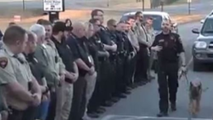 Cops Turn Out To Say Bye To Cancer-Stricken Police Dog
