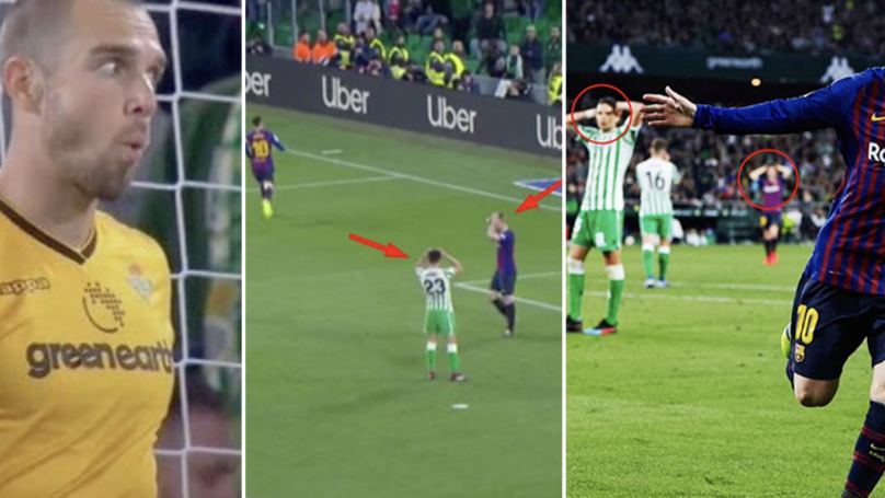 Real Betis Goalkeeper Pau López's Reaction To Lionel Messi's Third Says It All