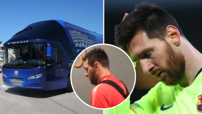 Barcelona's Bus Left Anfield Without Lionel Messi Last Night
