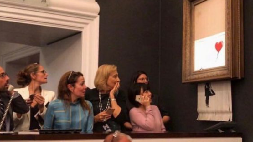 Rare Banksy Painting Self-Destructs After Selling For £1 Million