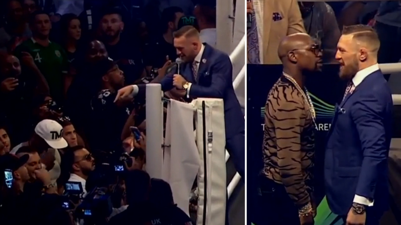 WATCH: Conor McGregor Absolutely Ruins Stephen Espinoza And Mayweather's 'Juice Head' Guards