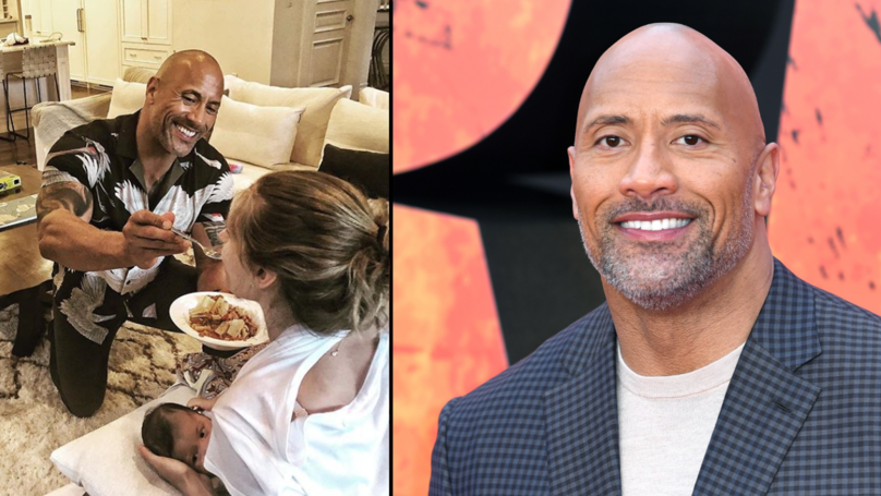 Dwayne Johnson Shares Adorable Photo Of Himself Feeding Partner While She Feeds Baby