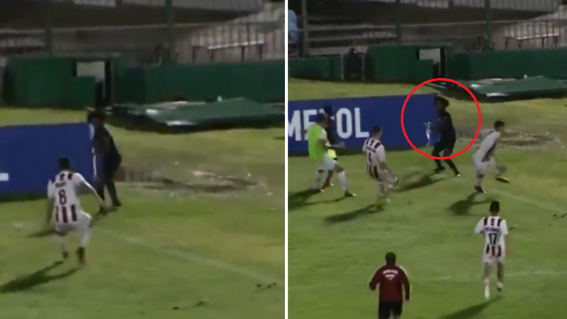 Watch: The Incredible Moment A Player Uses A Corner Flag As A Spear