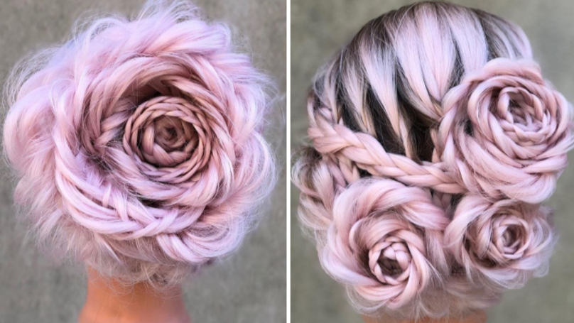 This Pink Rose Hair 'Do Is The Prettiest Spring Style Around