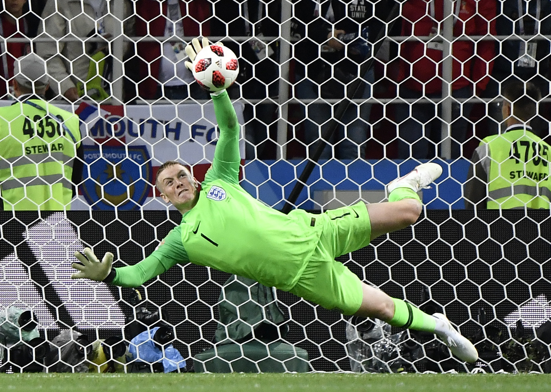 Jordan Pickford saving a penalty against Colombia in Moscow (Image Credit: PA)