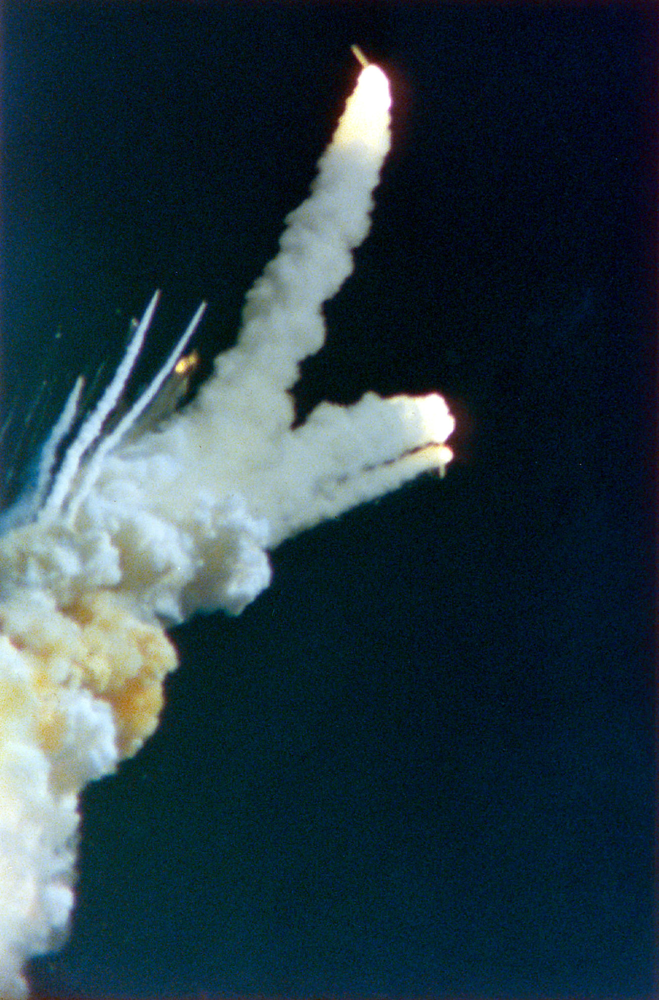 The Challenger space shuttle explodes. Credit: PA