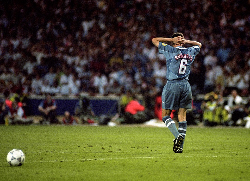 Southgate after missing his spot kick in 1996. Image: PA Images