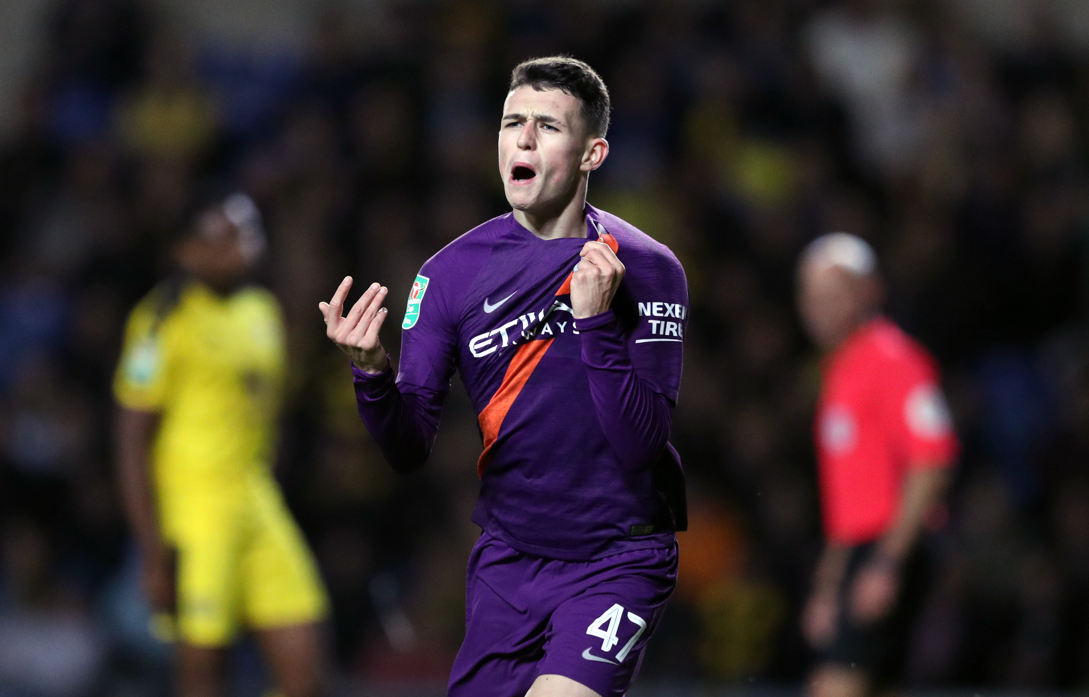 Foden celebrates scoring a goal for City. Image: PA