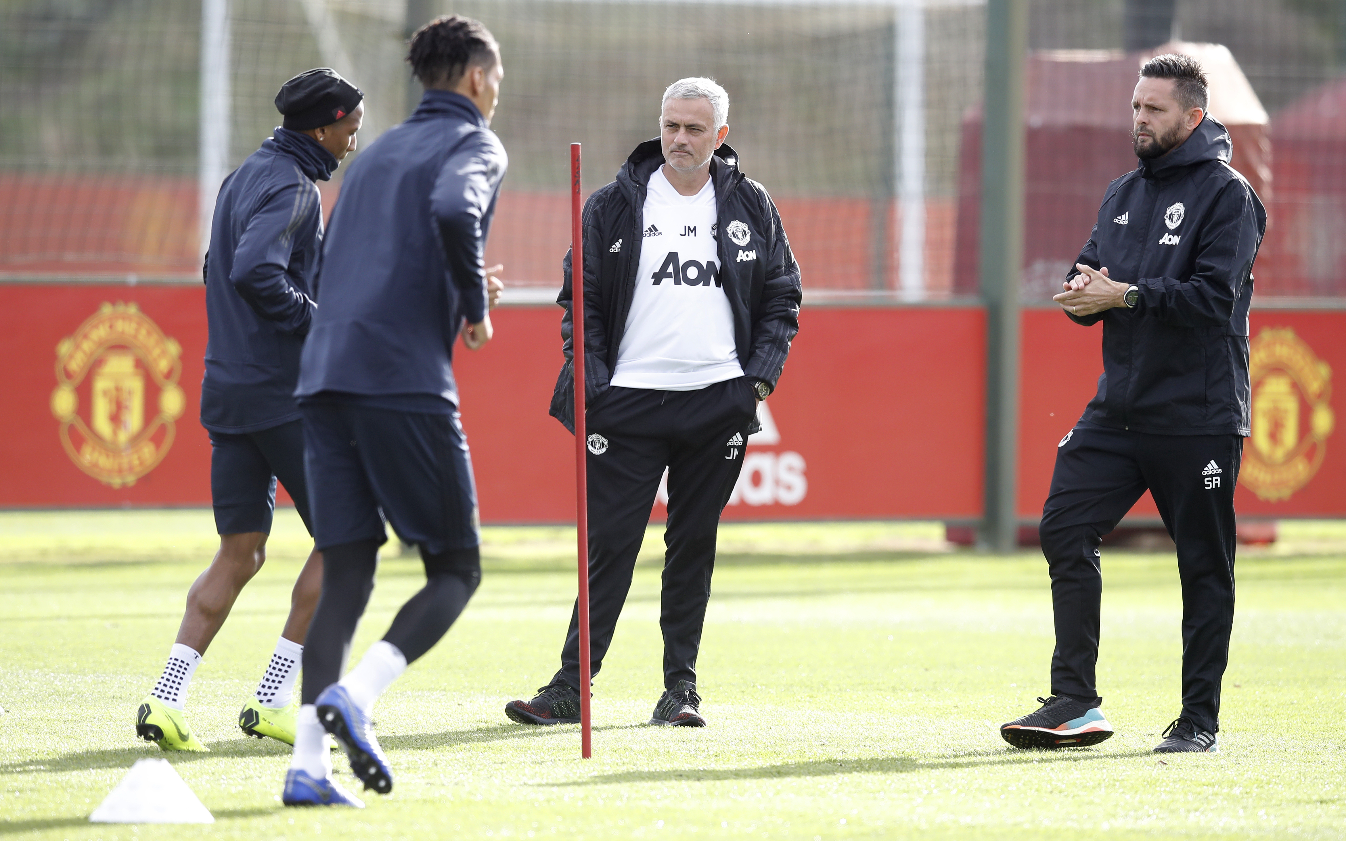 Mourinho looks round training for a suspect. Image: PA Images