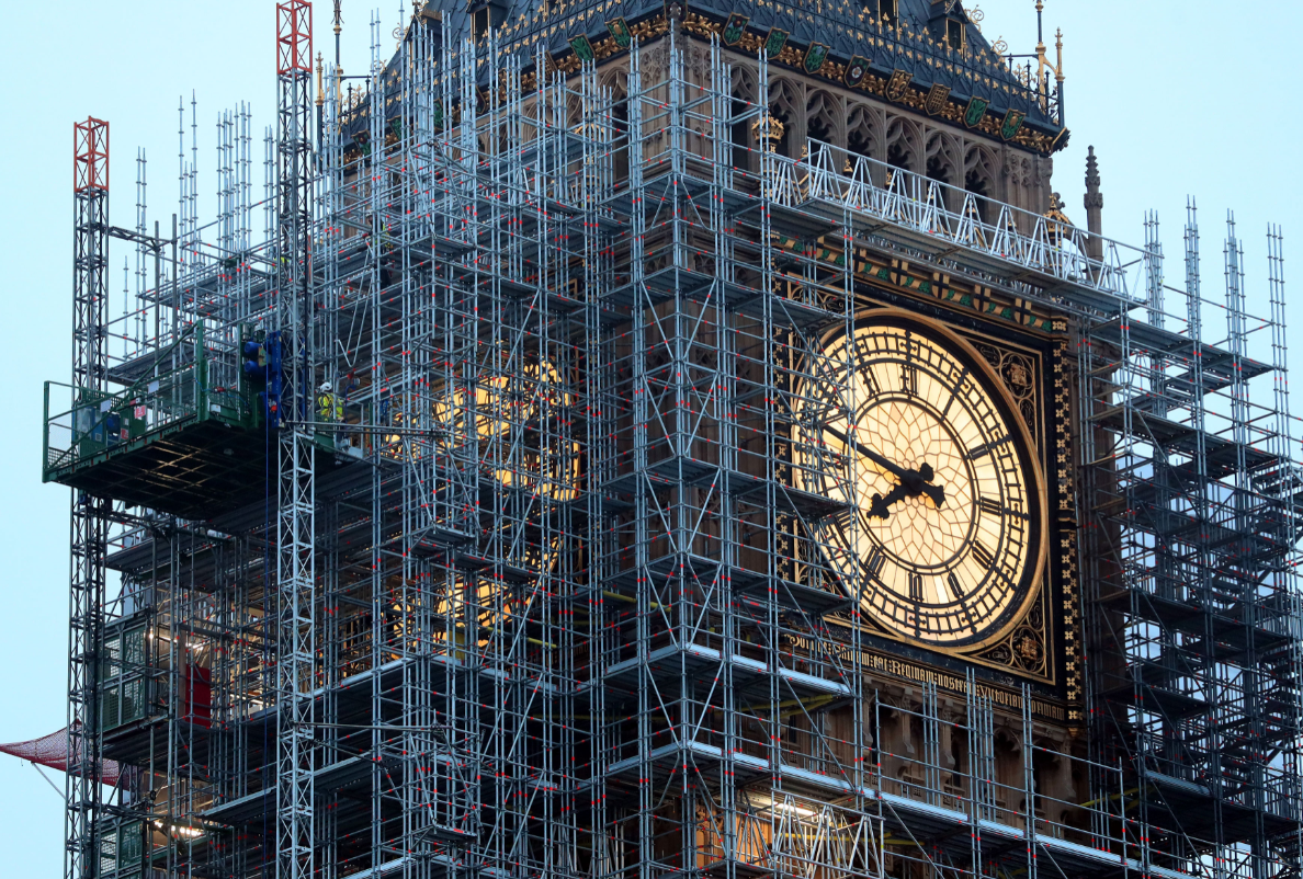 Big Ben is still undergoing renovation work, but will ring on Remembrance Sunday and New Year's Eve. Credit: PA