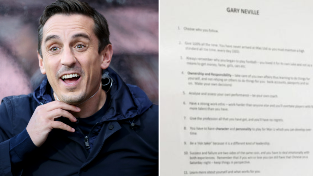 Gary Neville Has 14 Tips For Manchester United Academy Players