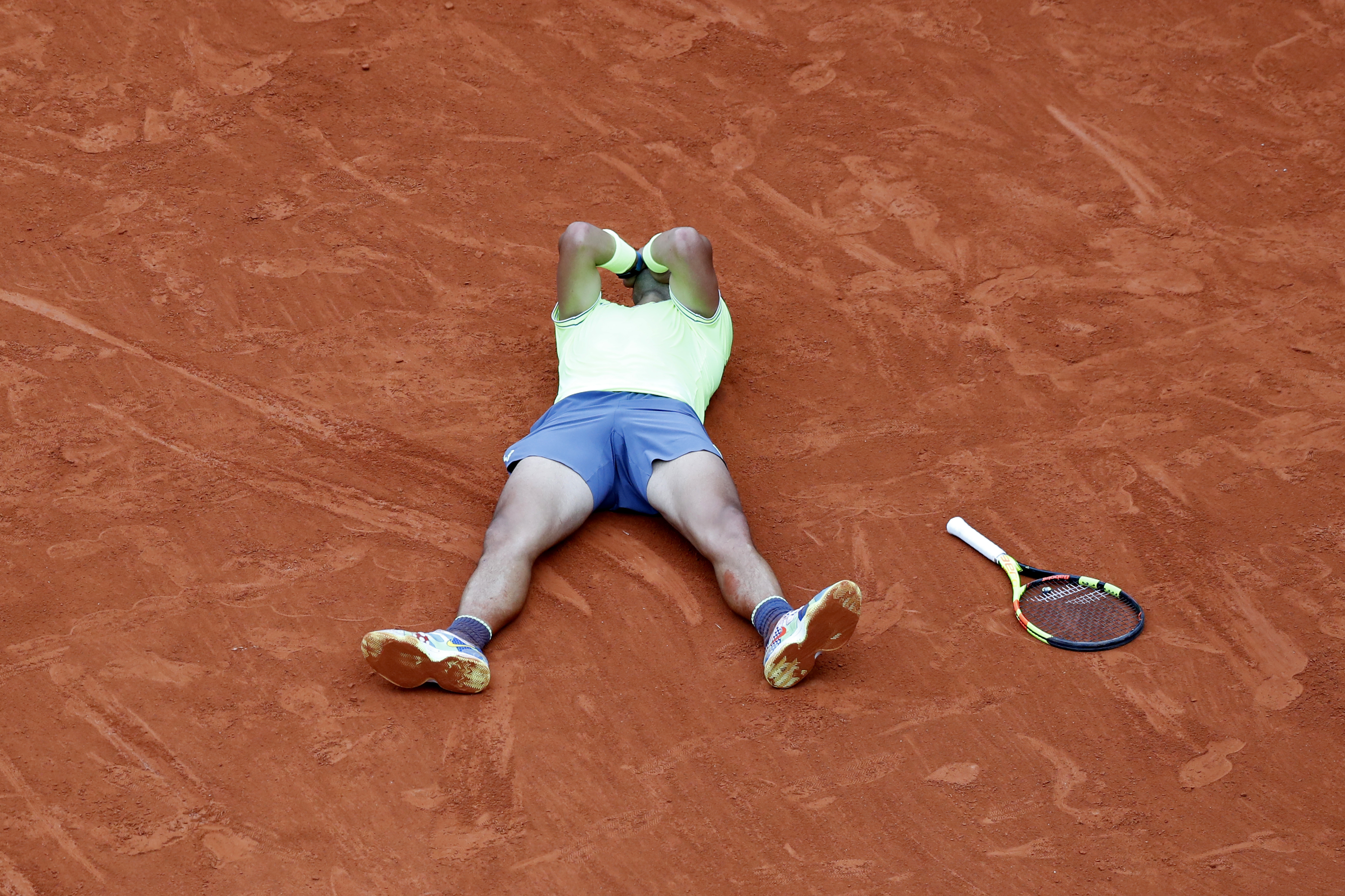 Nadal celebrates his victory on the clay. Image: PA Images