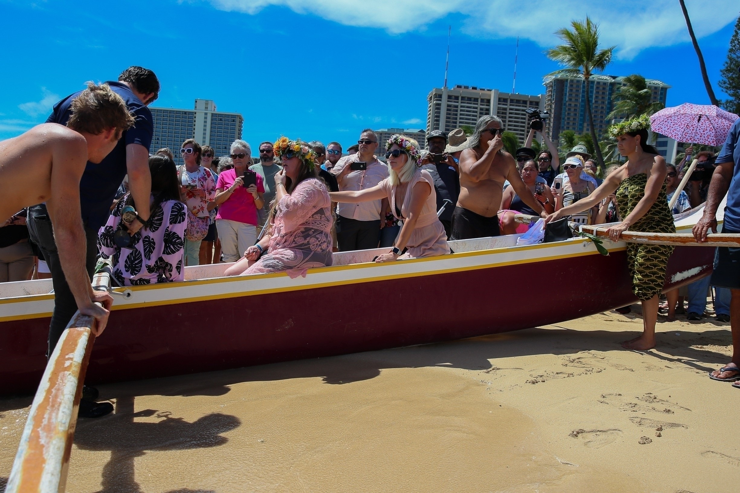 Mourners attended the memorial which was held on a beach in Hawaii. Credit: BACKGRID