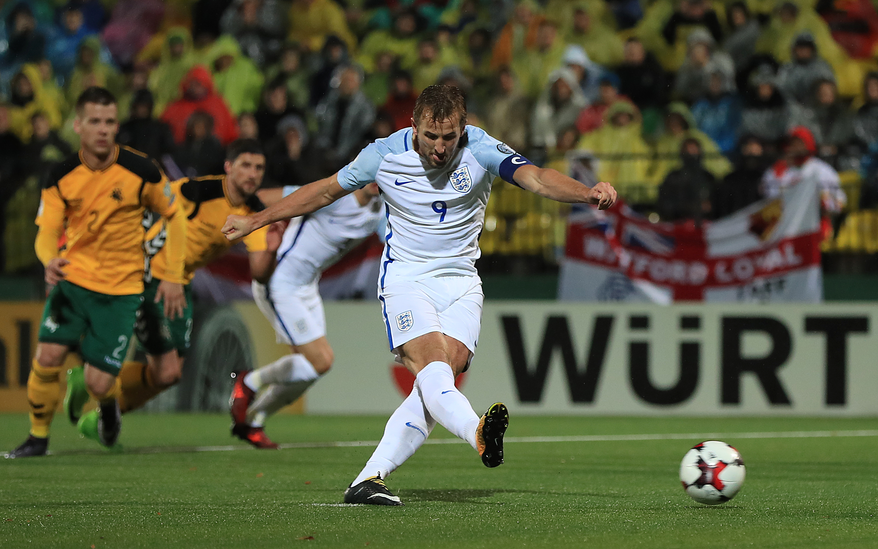 Kane scoring in a World Cup qualifier. Image: PA