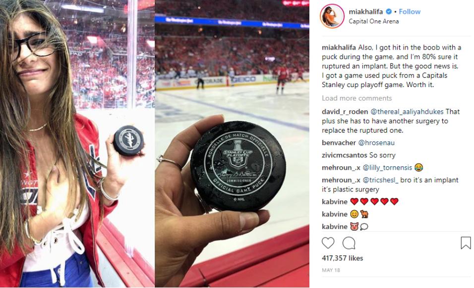Mia Khalifa's breast implant was damaged by a hockey puck in July. Credit: Instagram/miakhalifa