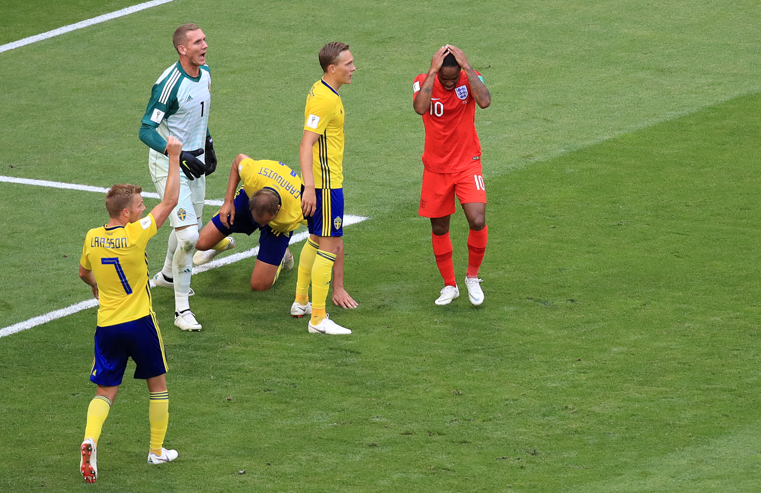 England's Raheem Sterling after missing a chance against Sweden. Credit: PA