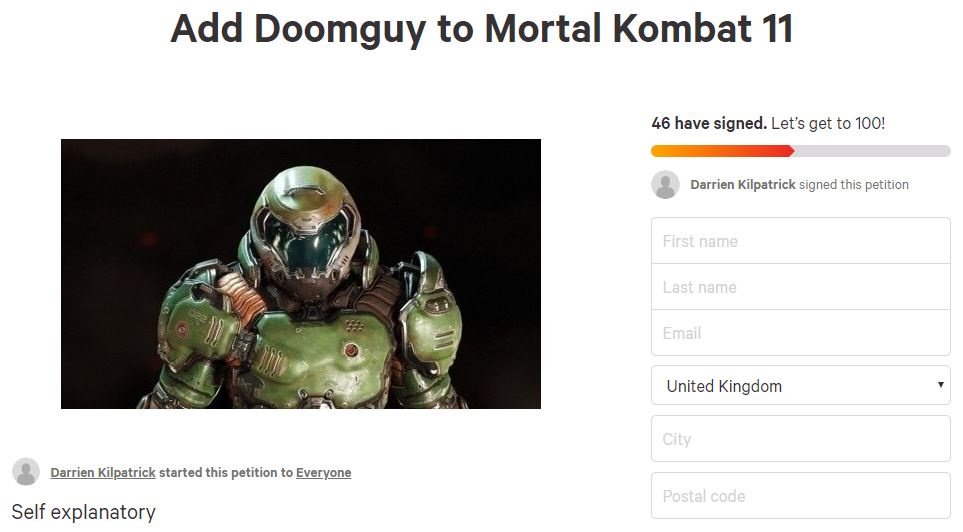 There's A Petition For Doomguy To Become A 'Mortal Kombat