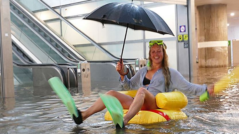 A Swedish Train Station Flooded And People Turned It Into A Swimming Pool