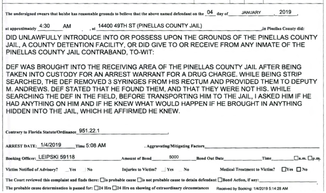 Scott claimed he had found the syringes and they weren't actually his. Credit: Pinellas County Jail