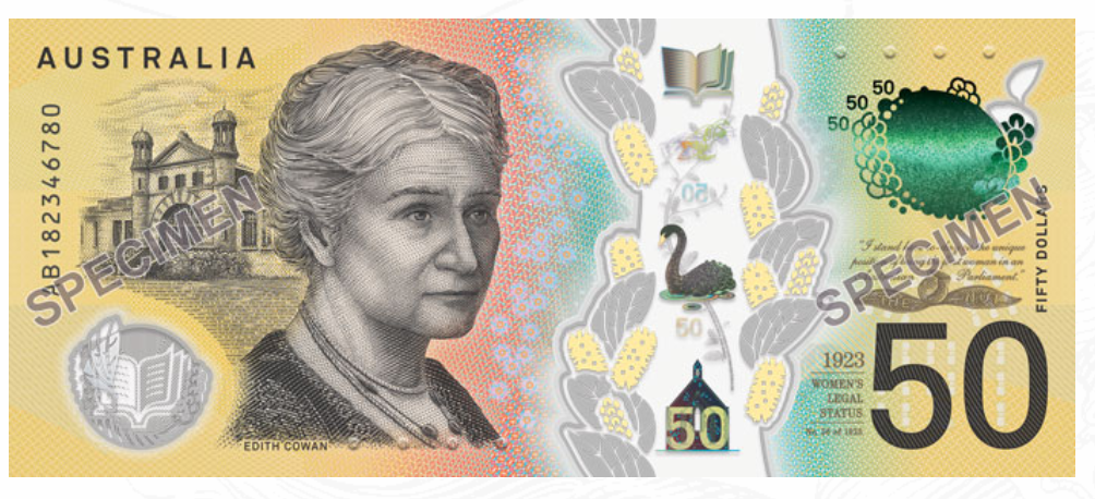 The error occurred on the new $50 note, printed in October last year. Credit: Reserve Bank of Australia