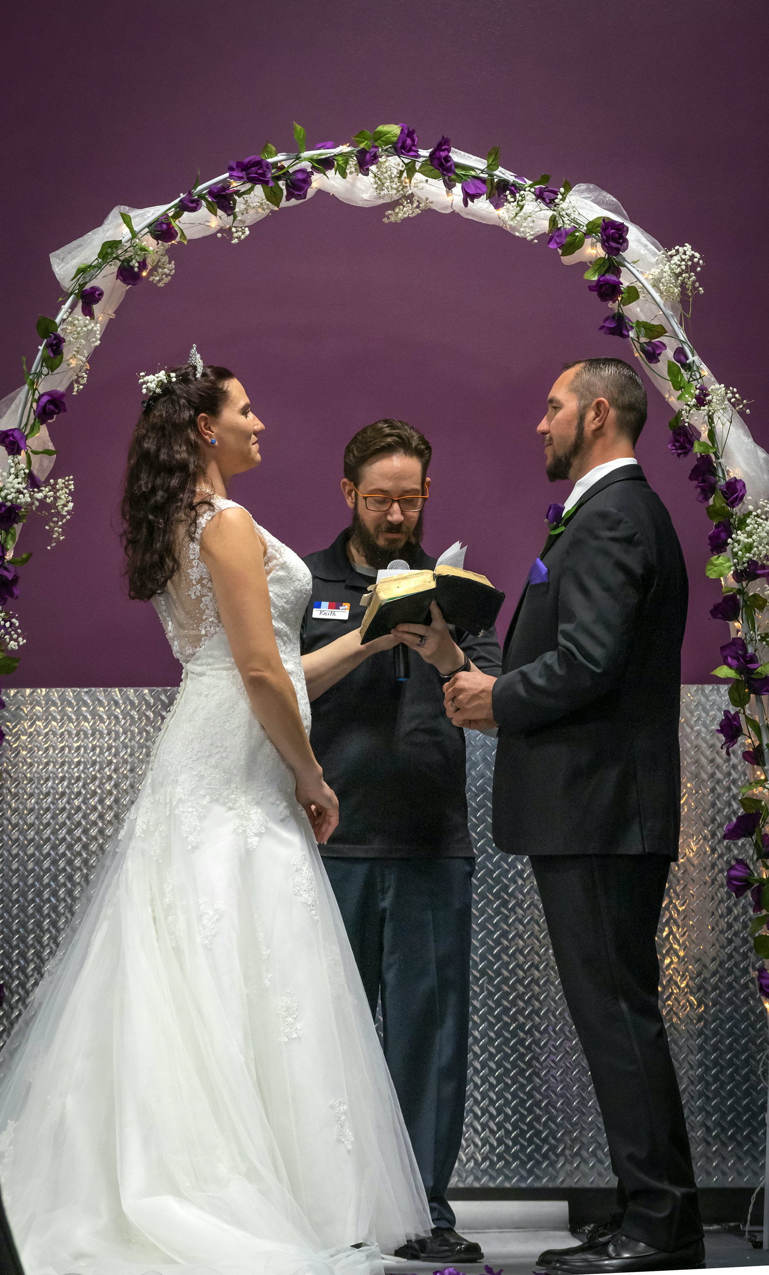The couple got hitched at their local gym, which they say has helped them overcome their drug addiction. Credit: SWNS