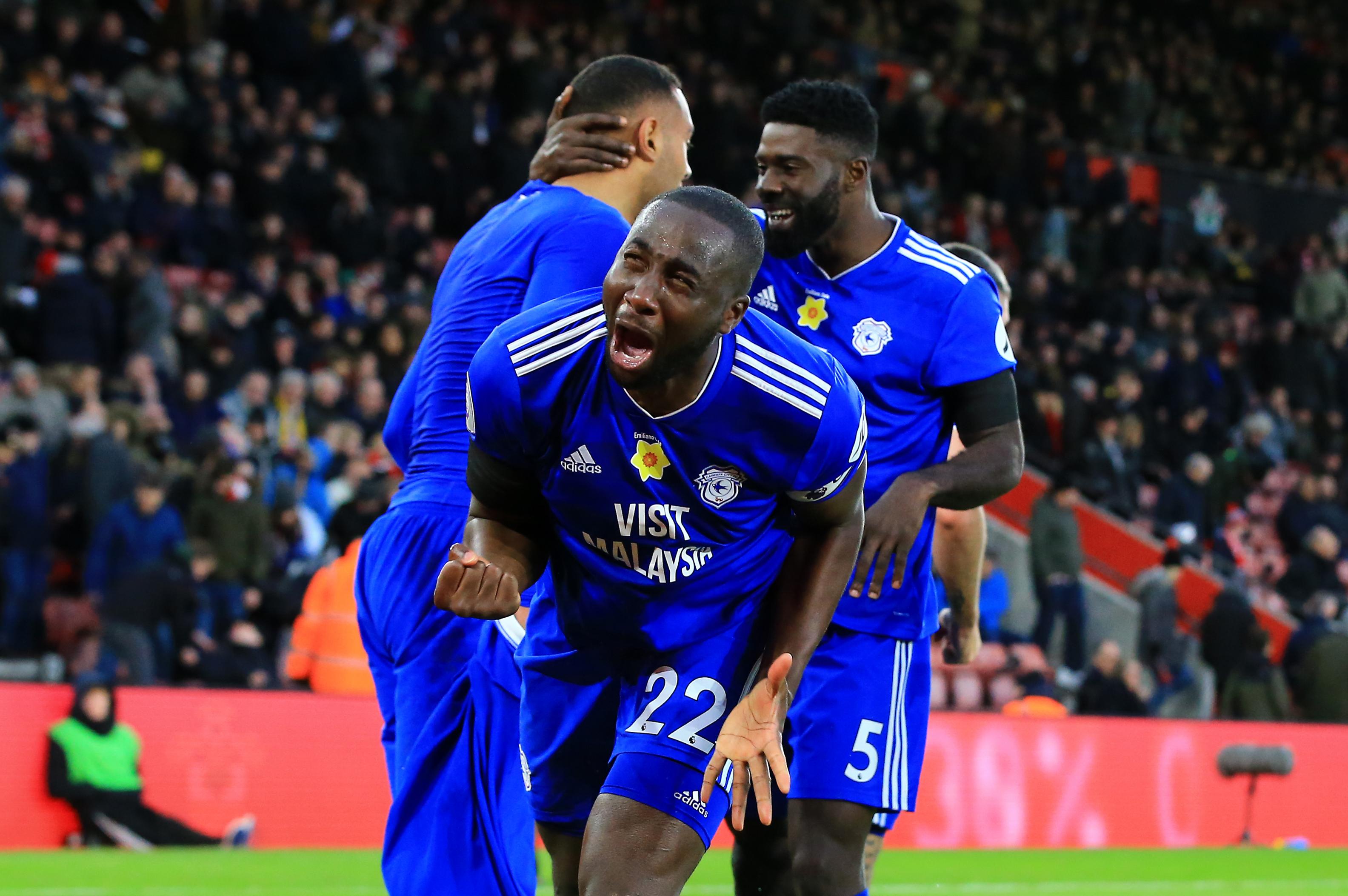 Sol Bamba emotionally celebrates his goal against Southampton. Image: PA Images