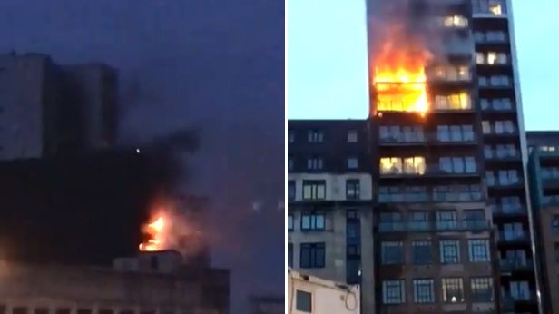 Manchester Firefighters Are Battling A Blaze On A 12 Storey Building