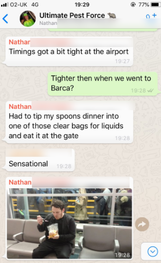 Photos of Nathan tucking into his meal were shared in a group chat. Credit: Elliot Mitchell