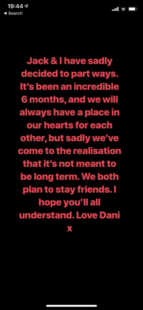 Dani Dyer announcement