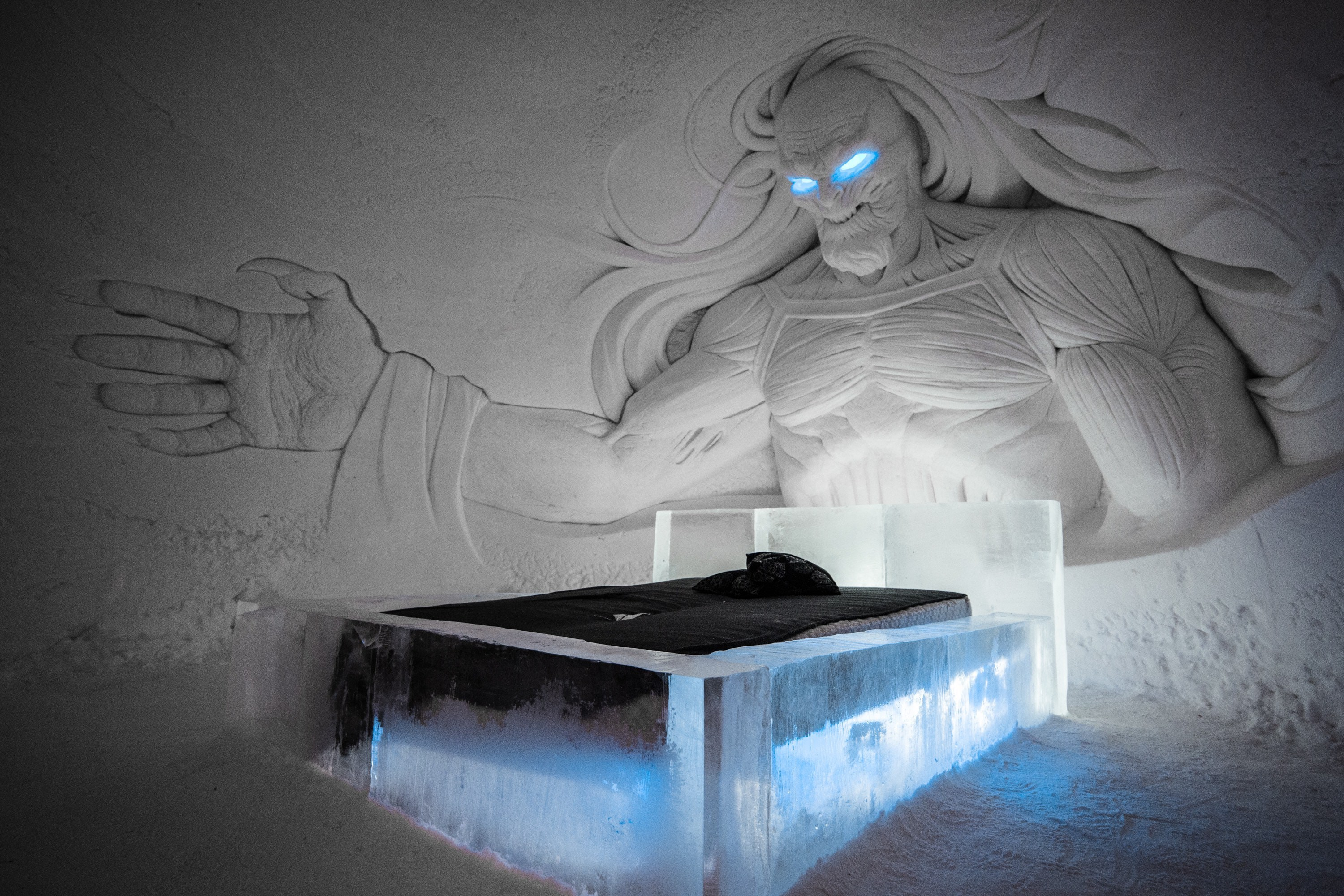 The beds are made from ice. Credit: Lapland Hotels