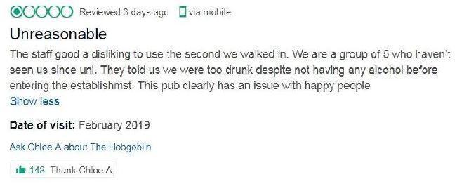 Chloe's review was scathing. Credit: TripAdvisor