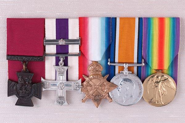 Jacka's medals on display. Credit: Australian War Memorial