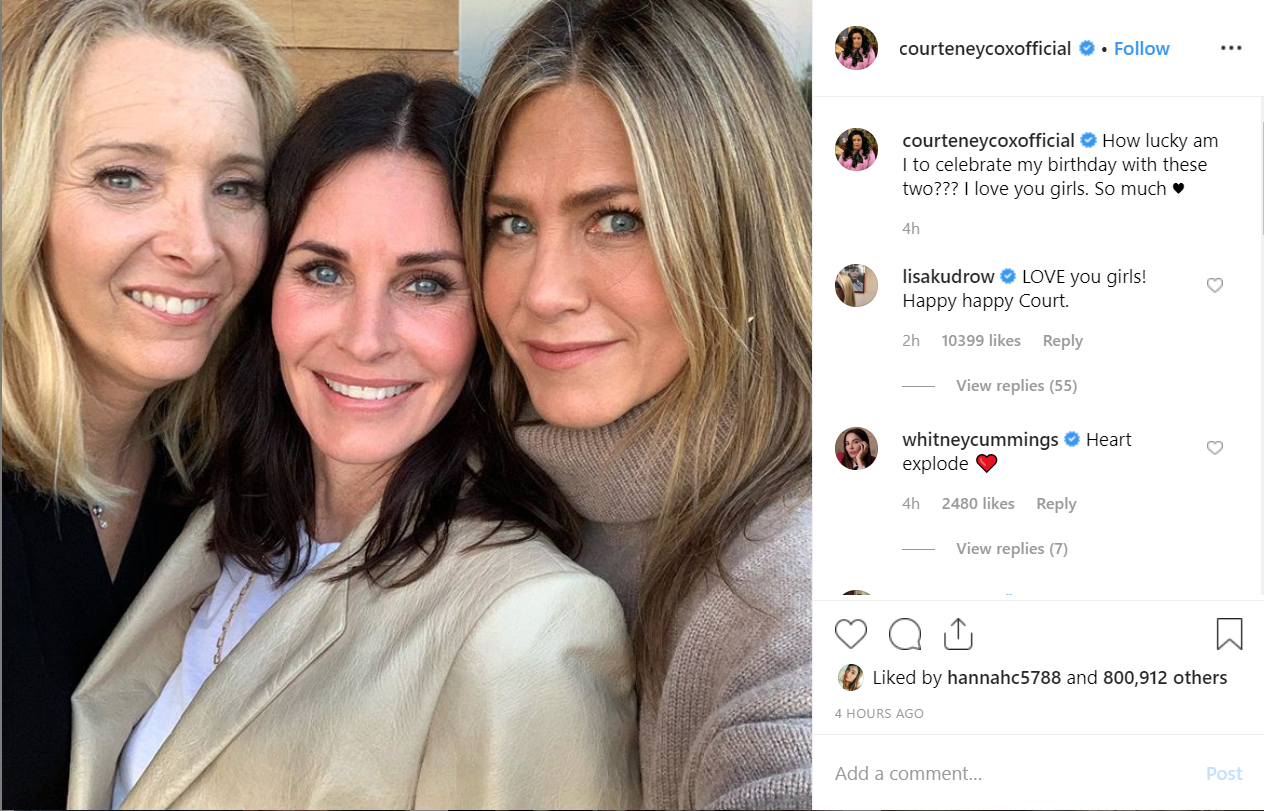 Courteney Cox Celebrates 55th Birthday With 'Friends' Co-Stars Jennifer Aniston and Lisa