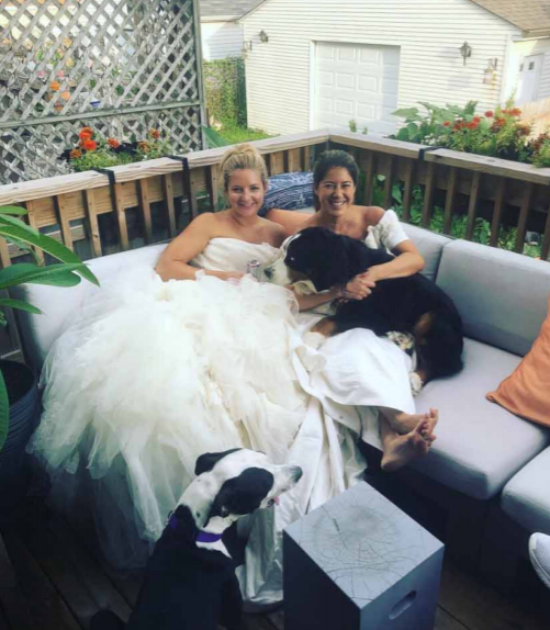 Sarah and Julie still wear their wedding dresses regularly. Credit: Media Drum World
