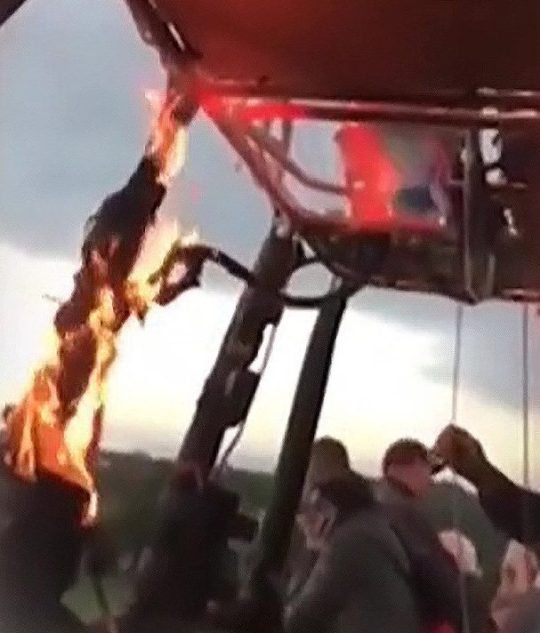 Hot air balloon with 16 aboard lands safely after fire