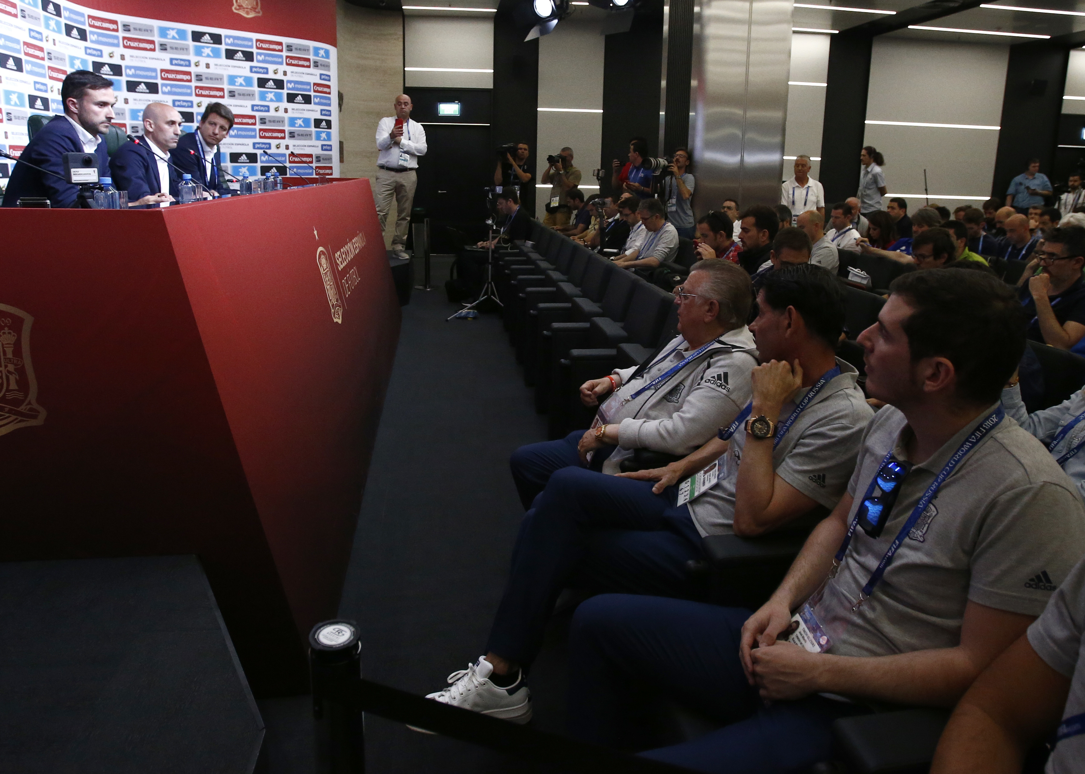 SFF president Luis Rubiales addresses the media during a press conference. Image: PA
