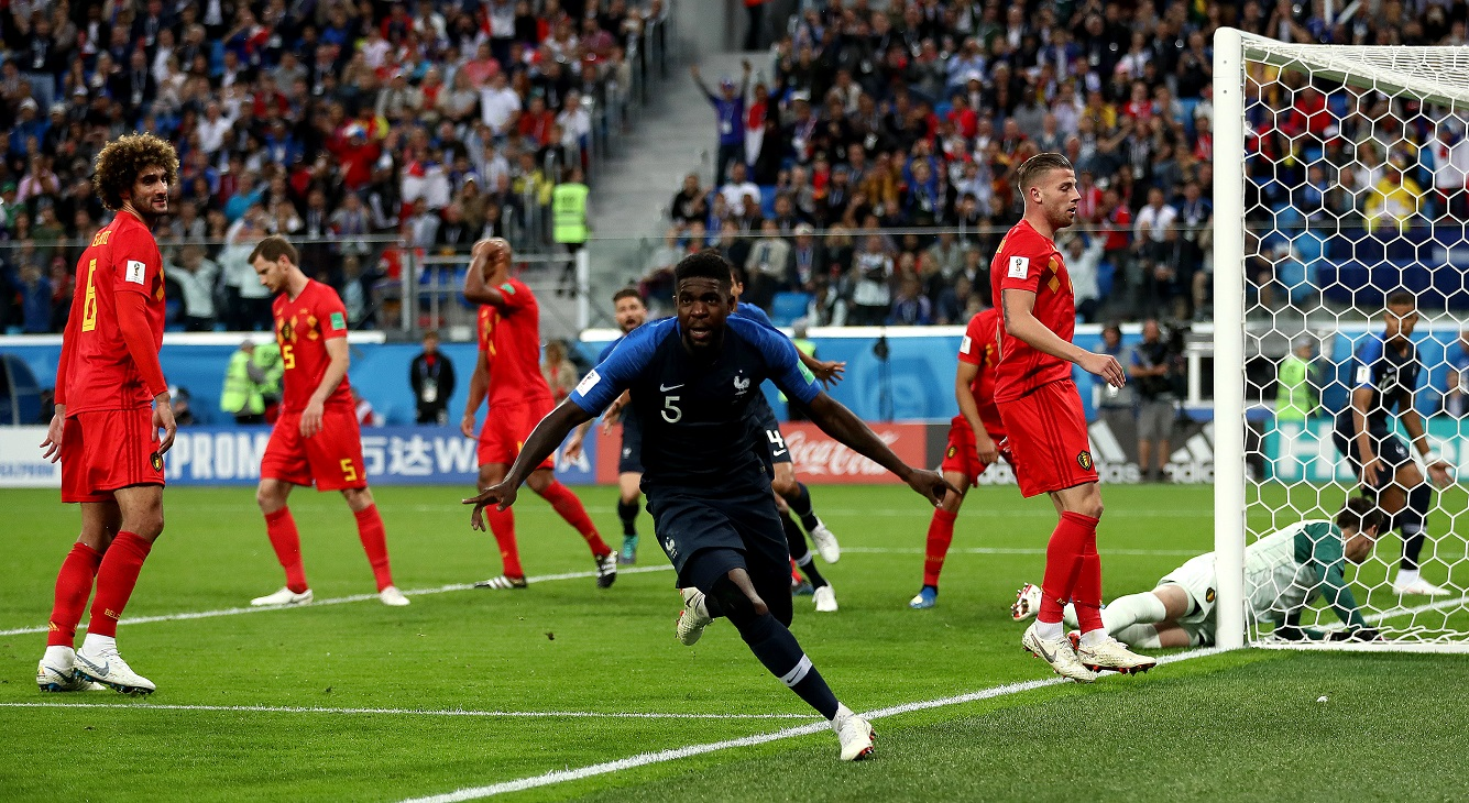 Samuel Umtiti celebrated France's 1-0 lead. Credit: PA