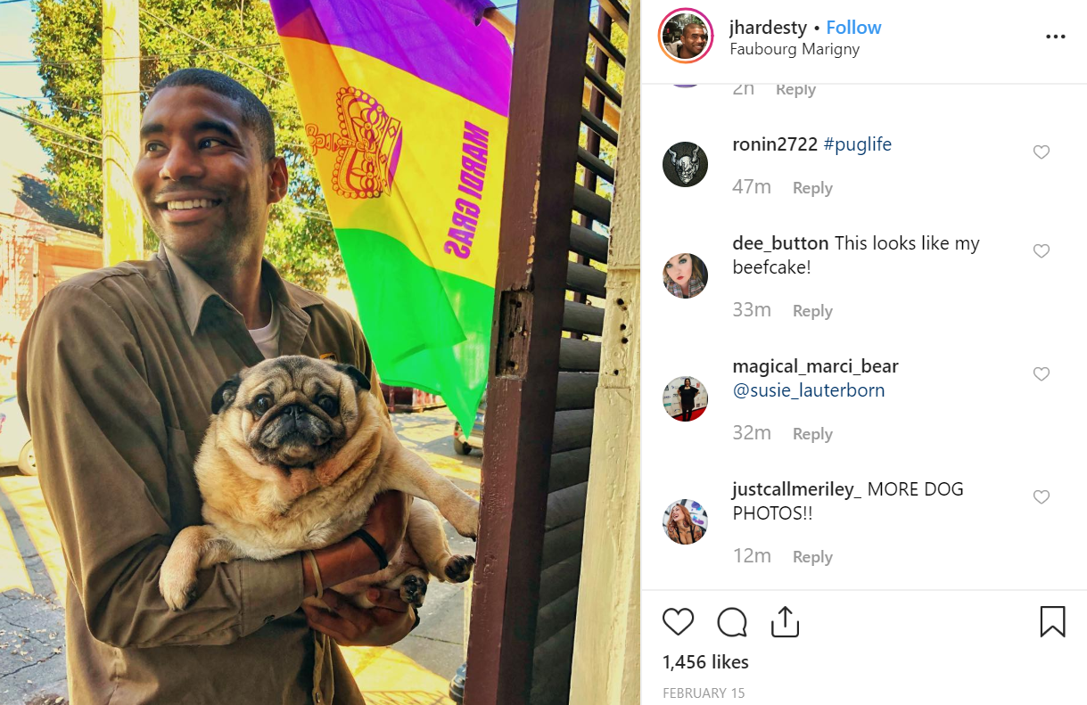 Mr Hardesty meets all kinds of dogs in his line of work. Credit: Instagram/jhardesty