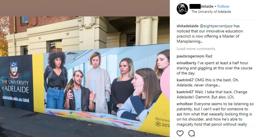 Adelaide Uni In Strife For 'Mansplaining' Billboard