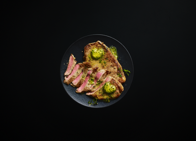 M&S Sirloin Steaks with Heart Butter. Credit: M&S