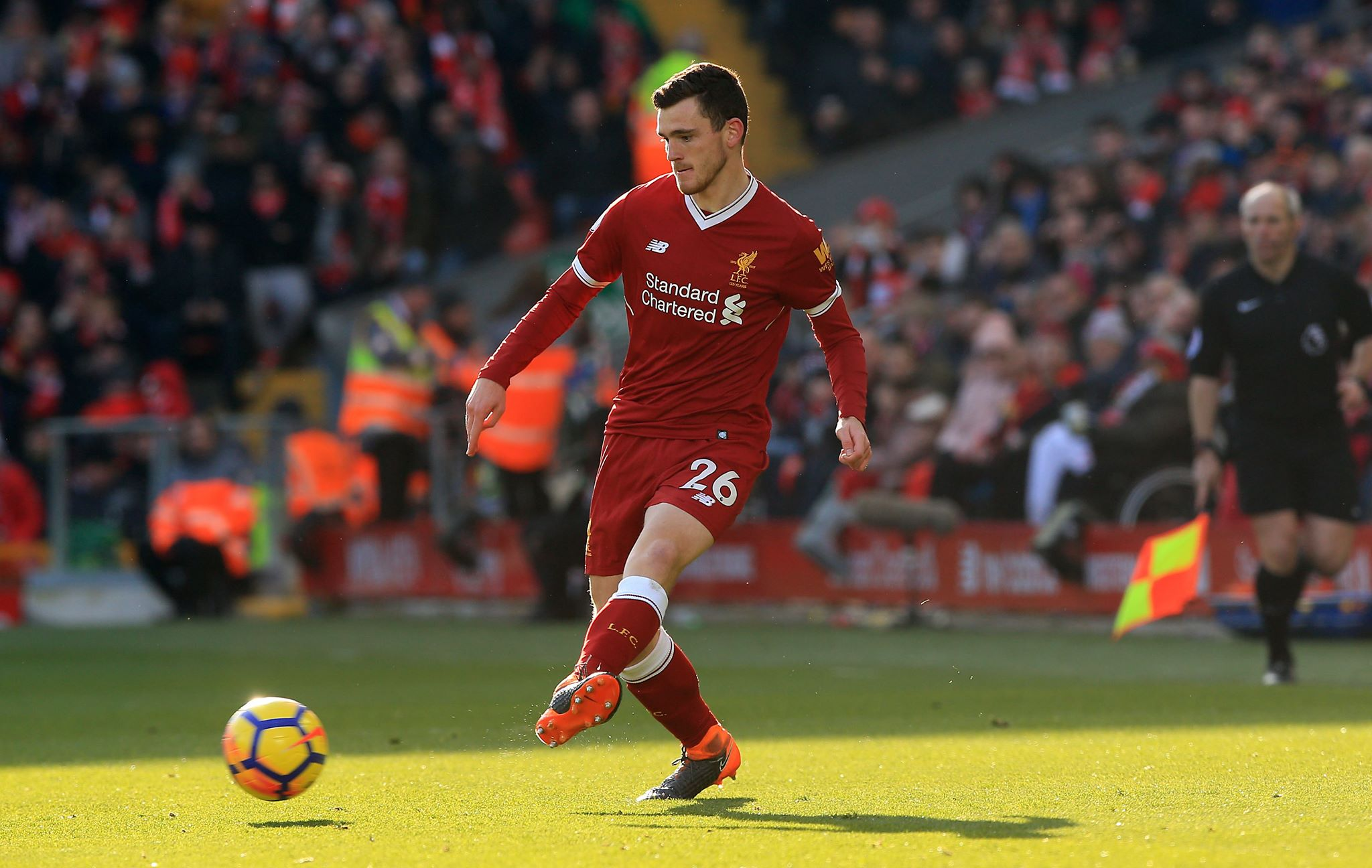 Robertson in action for Liverpool. Image: PA