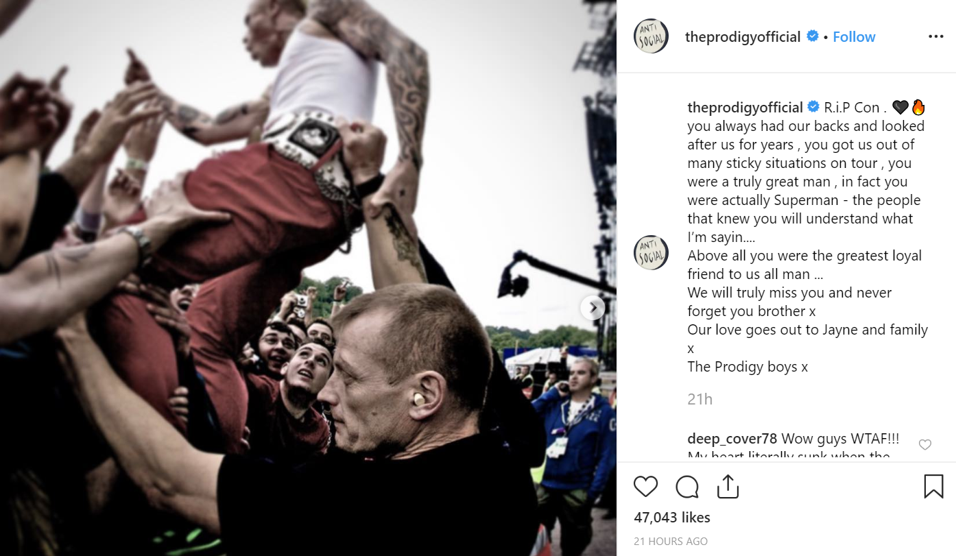 The Prodigy has paid tribute to Con on Instagram. Credit: The Prodigy/Instagram