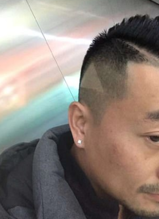 The triangle was shaved into the customer's hair. Credit: Weibo/Tian Xiu Bot