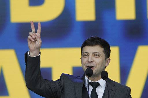 Polls suggest Volodymyr Zelensky has won by a landslide. Credit: PA