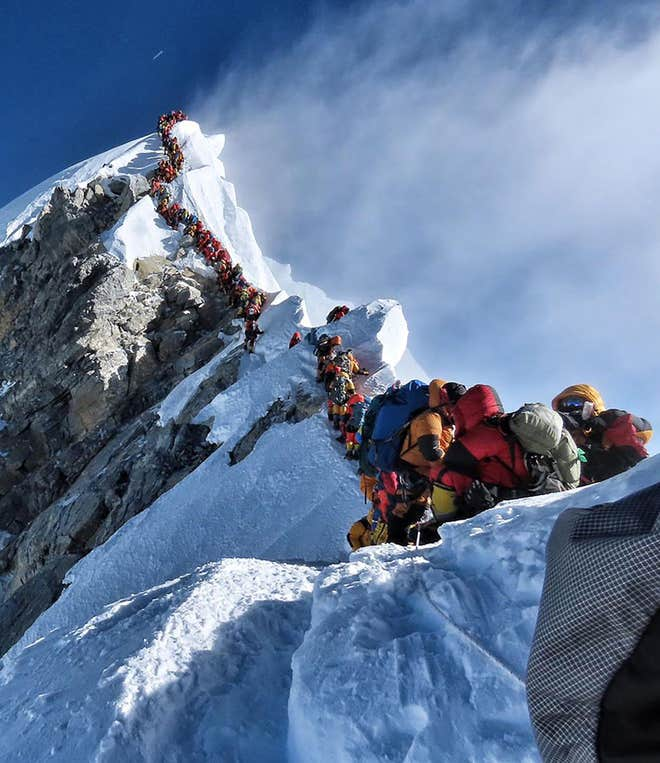 Some of the huge queues towards the summit of Everest. Credit: Getty
