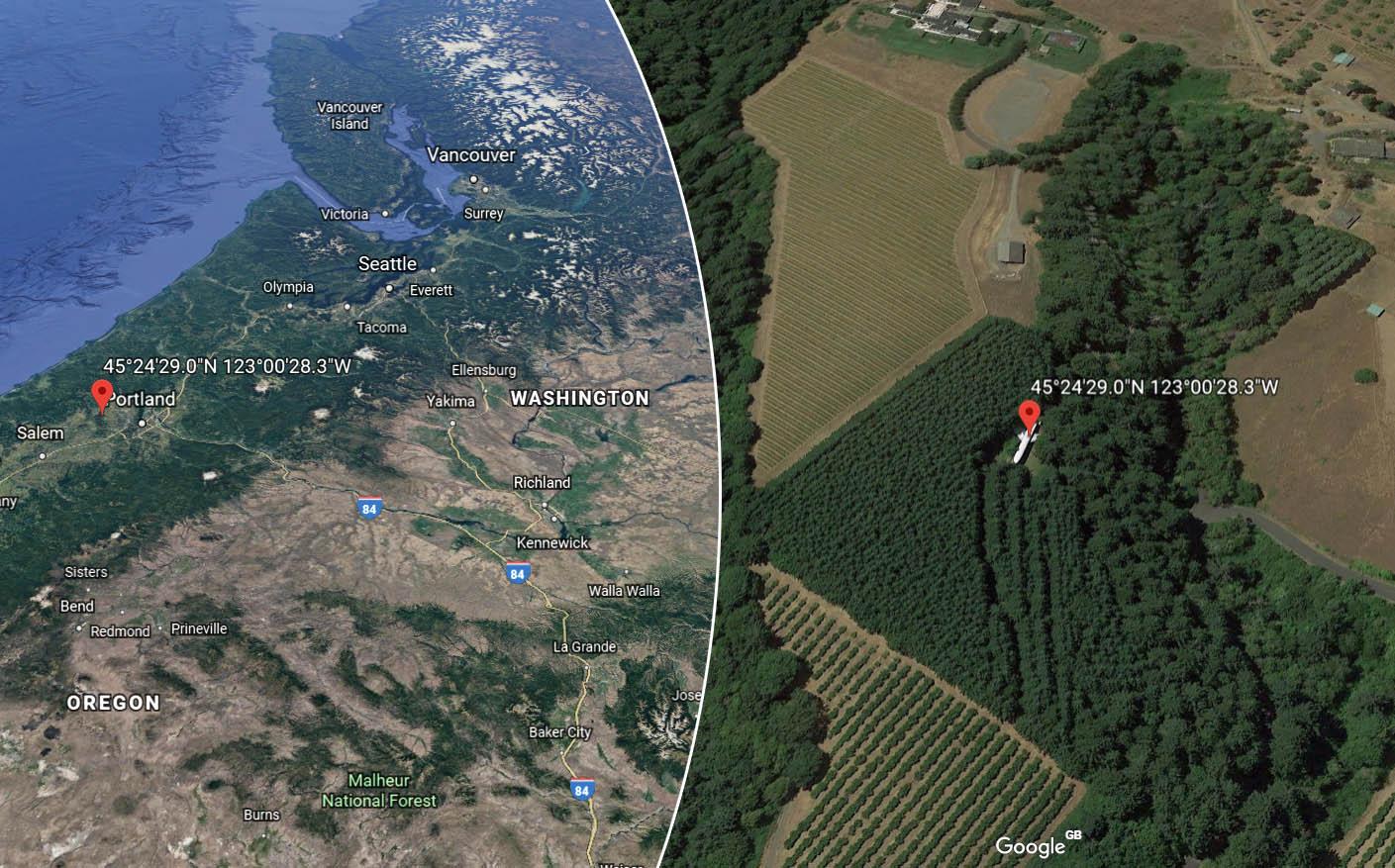 The Plane Is Seen Near Oregon, USA on Google Earth. Credit: Google Earth