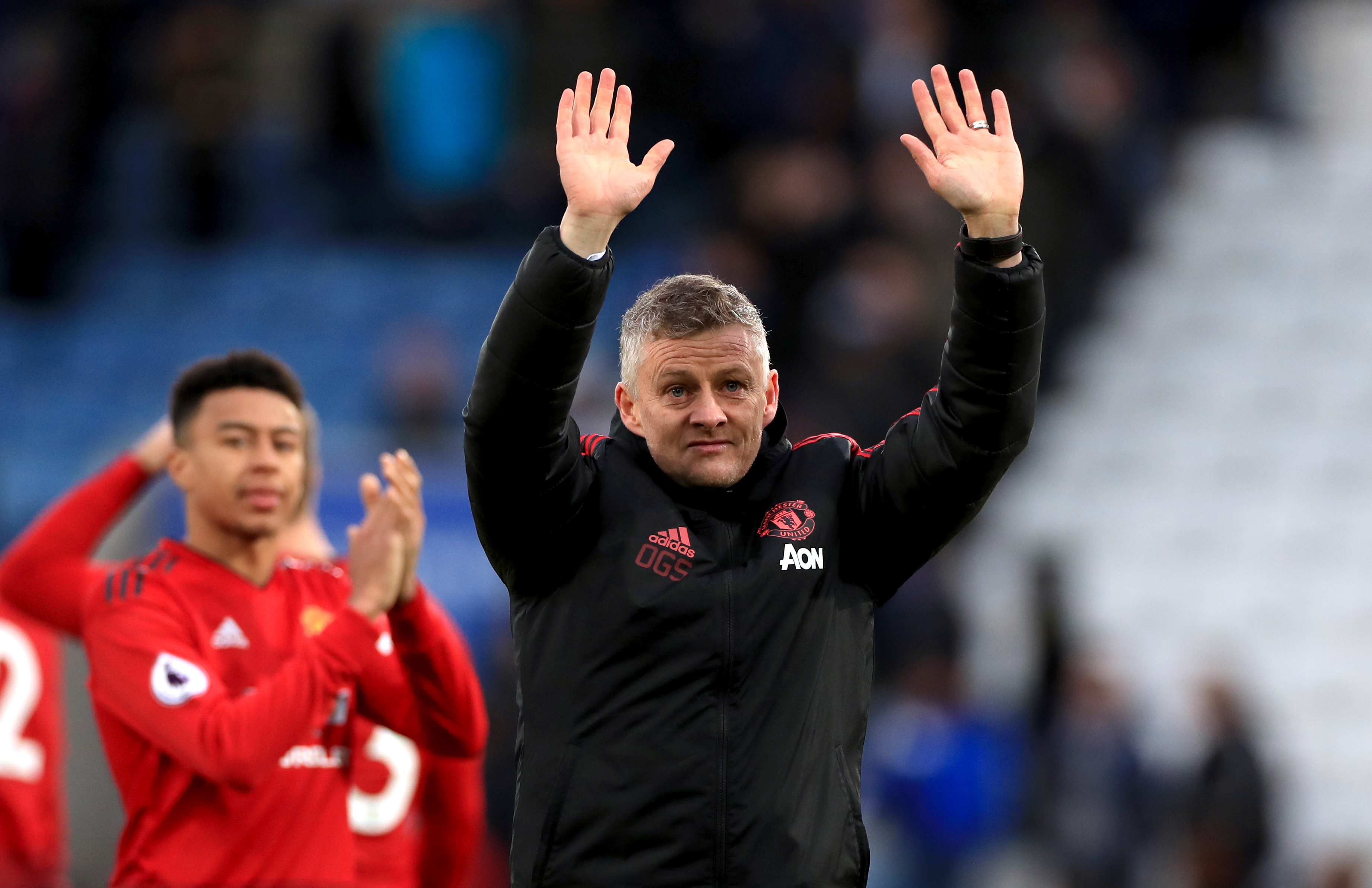 Solskjaer thanks the away fans after United's win over Leicester on Sunday. Image: PA Images