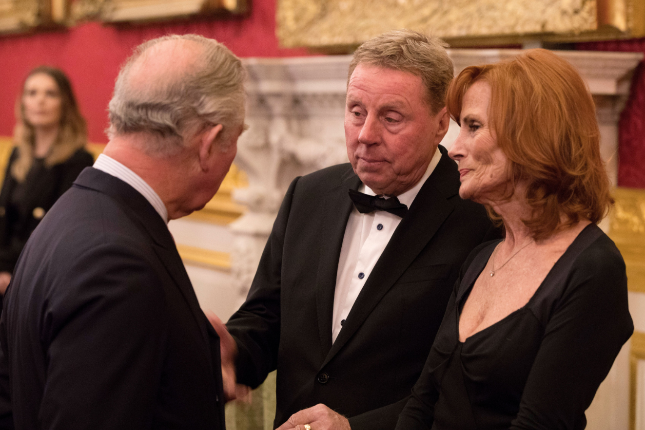 Harry Redknapp and wife Sandra with Prince Charles earlier this year. Credit: PA