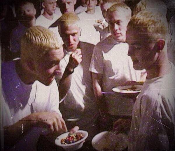 Eminem sharing M&Ms with other Eminems